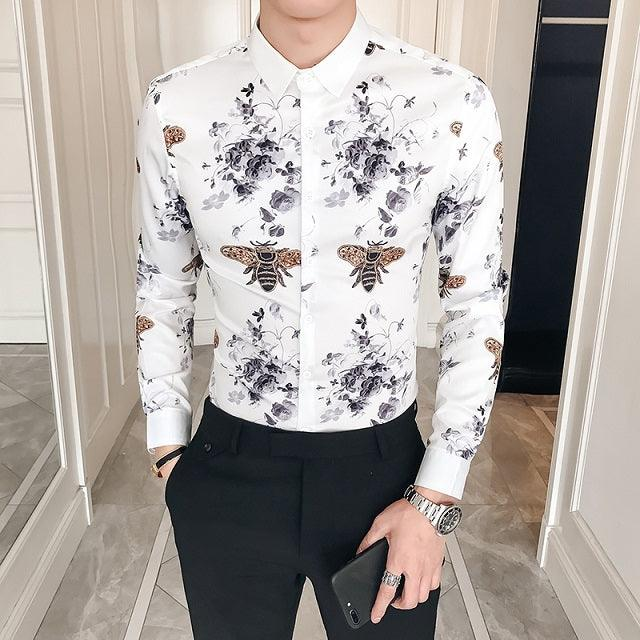 Black Gold Print Baroque Slim Fit Long Sleeve Shirt