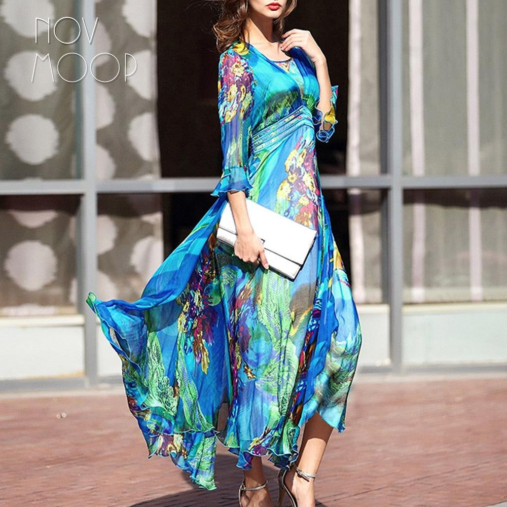 Bohemian style floral print dress butterfly sleeve chiffon pure silk dress