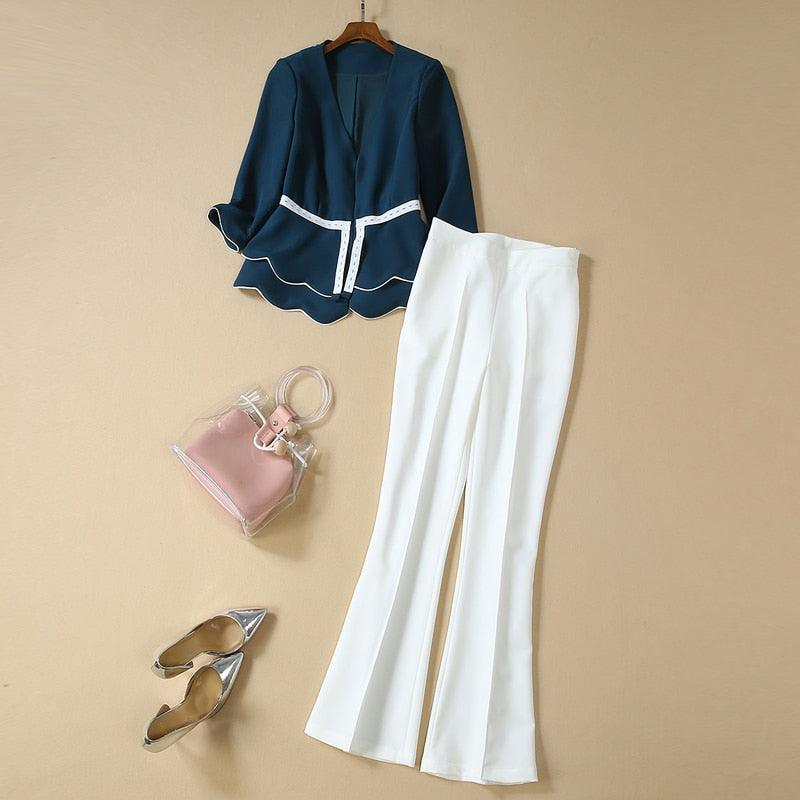 Vintage Elegant Chic V-Neck Top White Casual Trousers Sets