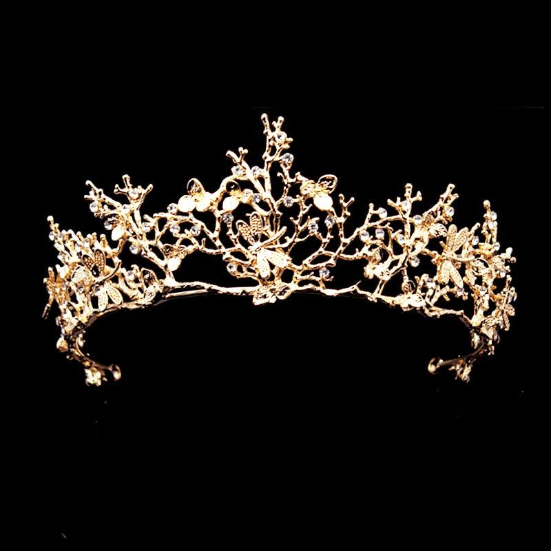 European Baroque Golden Crowns Branch Dragonfly Leaf Bridal Pageant Tiaras