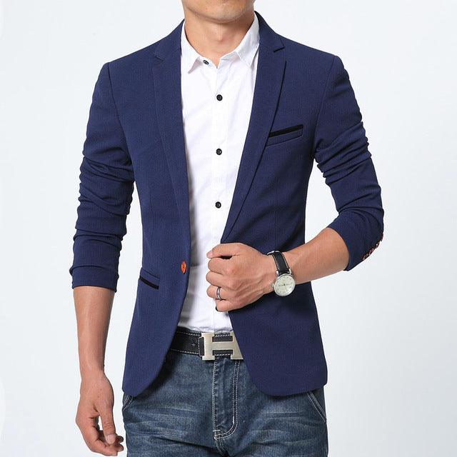 Weekend Cotton Slim Fit Men Suit Blazers