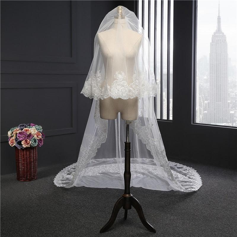 5 Meter White Ivory Cathedral Long Lace Edge Bridal Wedding Veil