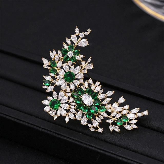 Fashion Luxury Cubic Zirconia Flower Brooch Suit Brooch Pin