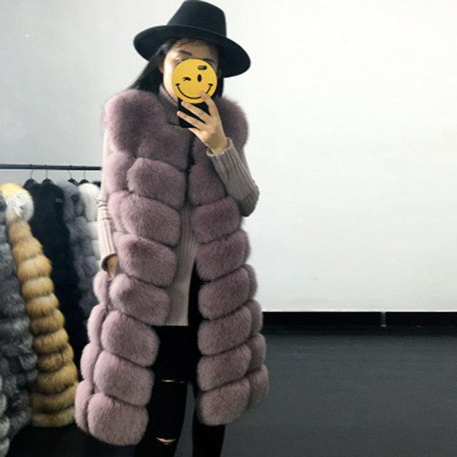 Casual Warm Slim Sleeveless Long Faux Fox Fur Jacket