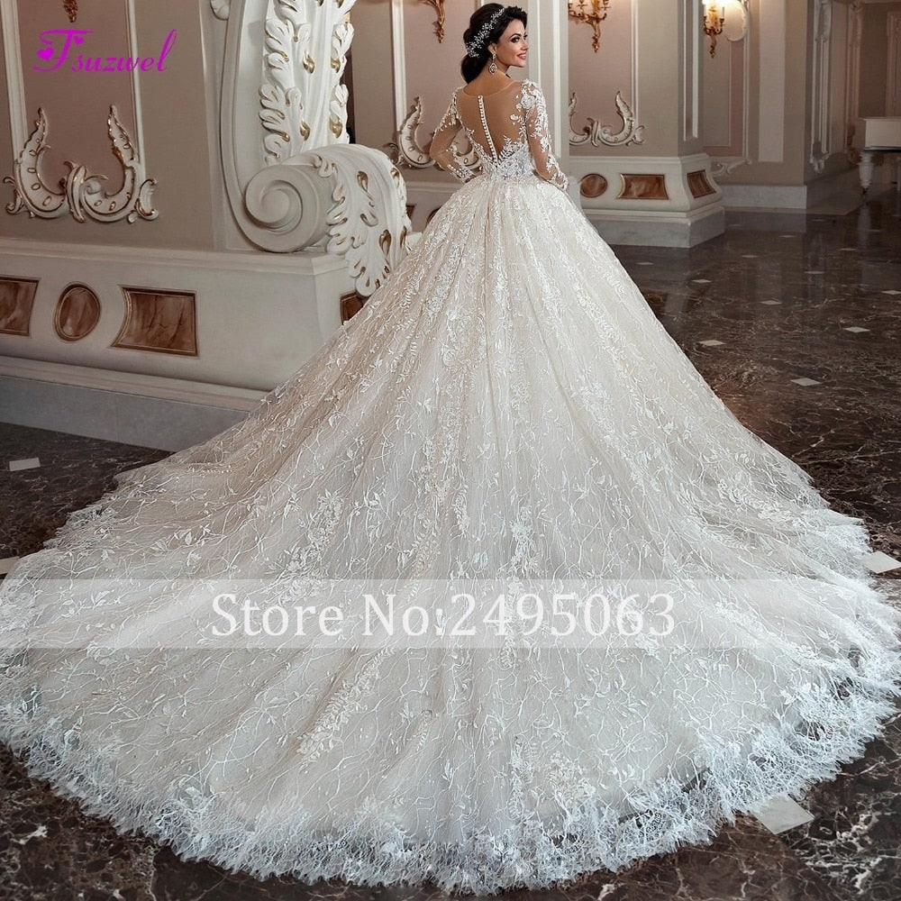 Gorgeous Chapel Train Lace Scoop Neck Long Sleeve Beaded Princess Bride  Ball Gown Wedding Dress