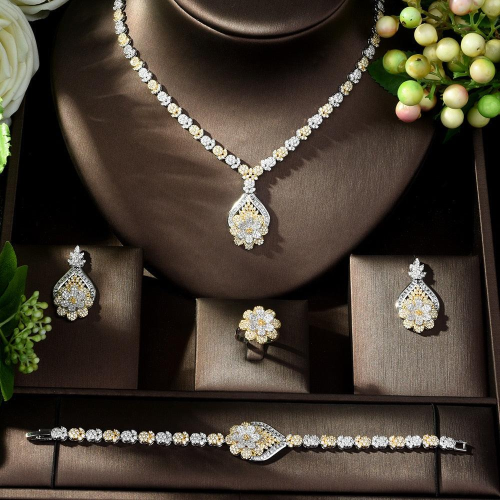 Gold Plated Luxury Cubic Zirconia Necklace Earring Bracelet Party Jewelry Set
