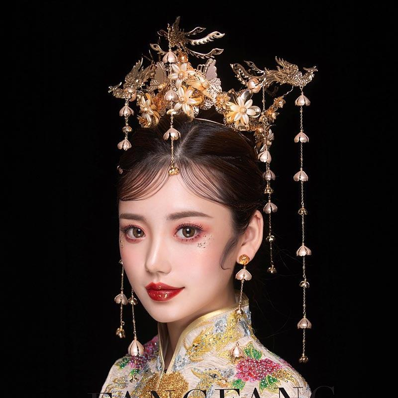 HIMSTORY Luxury Wedding Bride Vintage Chinese Peacock Hair Accessories Bridal Headdress Gold Phoenix Tiara Crown Hair Jewelry