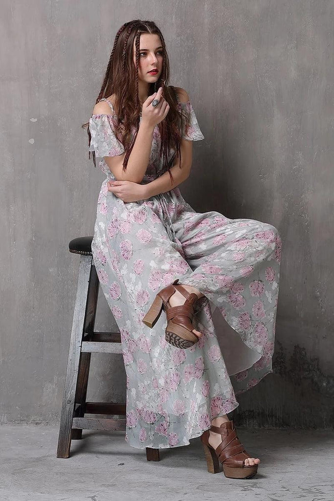 Floral Print Loose Wide Leg Full Length Jumpsuits