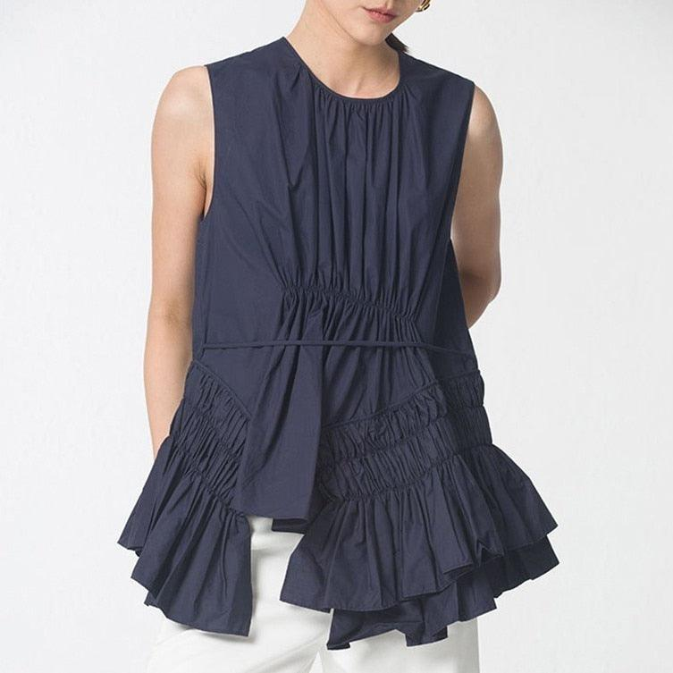 Sleeveless  Round Neck Irregular Ruched Blouse