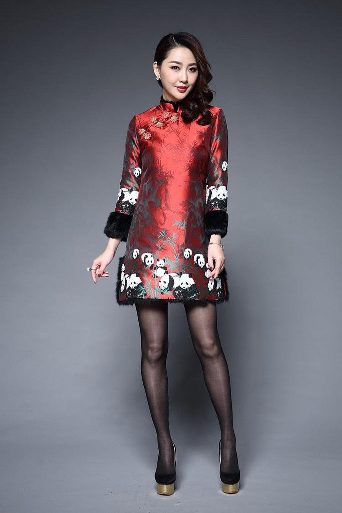 Long Sleeve Winter Qipao Satin Cheongsam Cotton Red Chinese Traditional Mini Dress