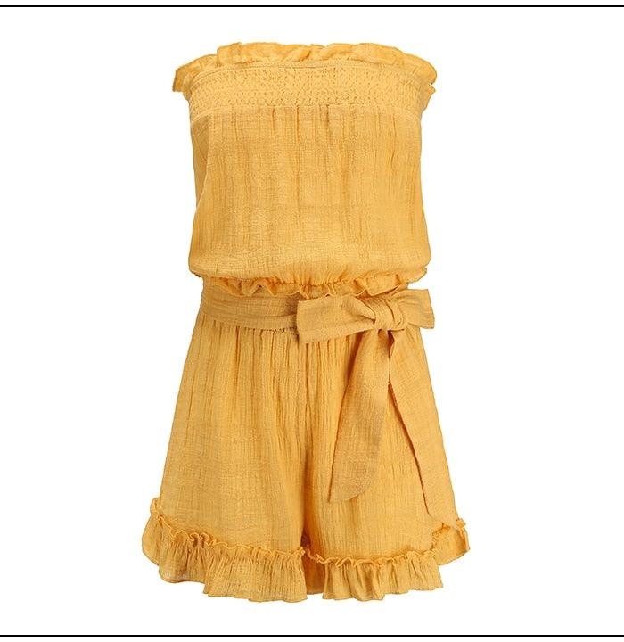 Yellow Elastic Waist Summer Sexy off Shoulder Rompers