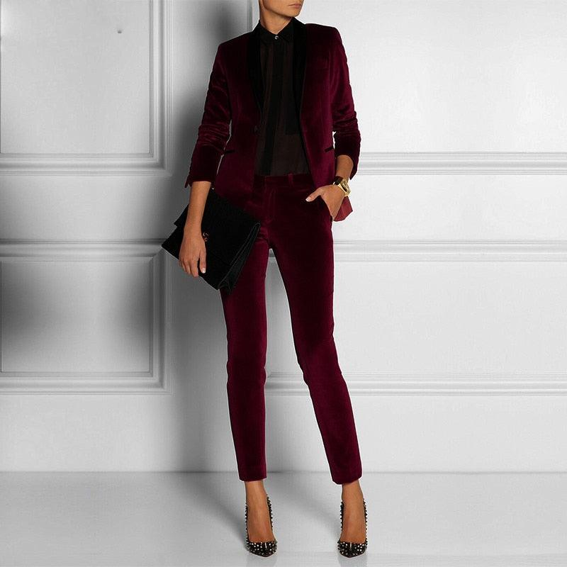 Wine Red Velvet Women Tuxedos Formal Pant Suits