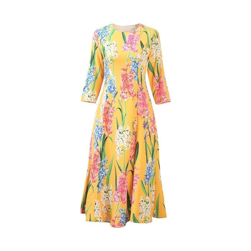 Yellow Flower Pattern Print Elegant Midi Dress