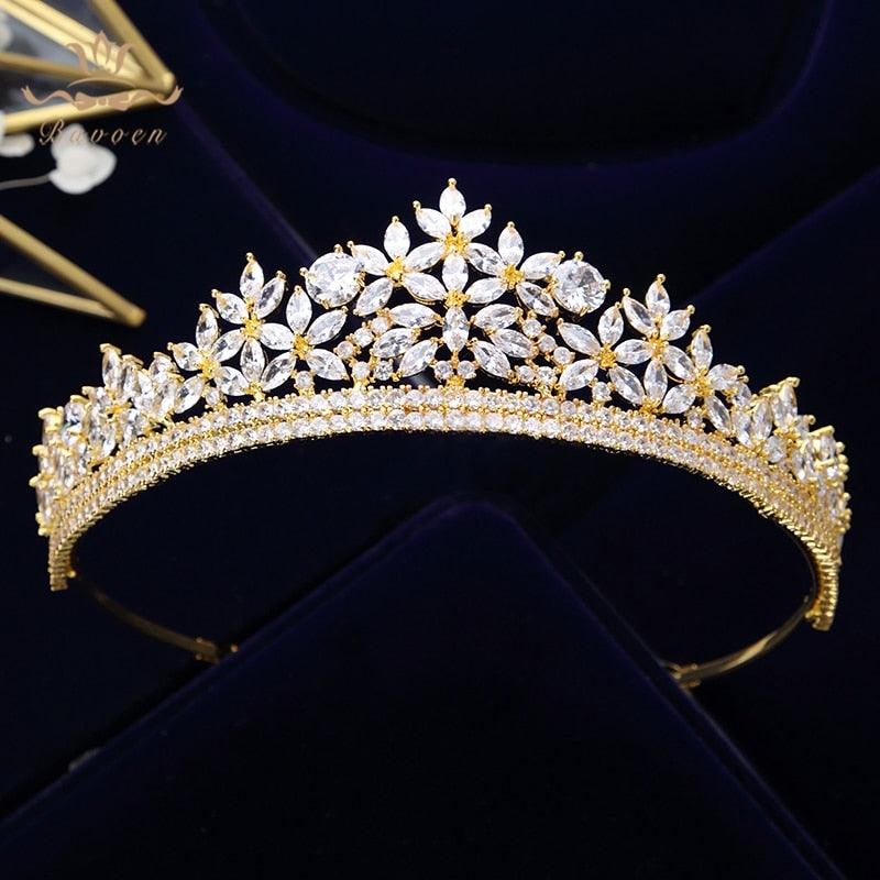 Royal Sparkling Zircon Silver Gold Crystal Bridal Wedding Hair Accessories