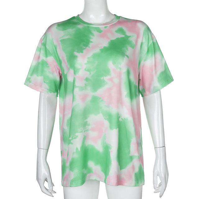 Tie Dye Print Basic T-shirt Shorts Two Piece Set