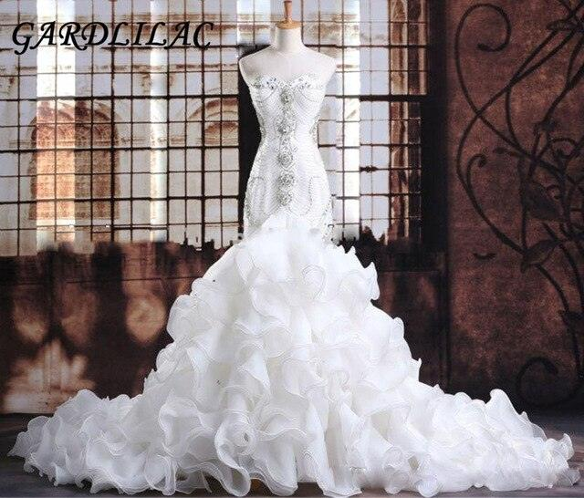 Luxurious Crystals Beaded Organza White Mermaid Wedding Dress