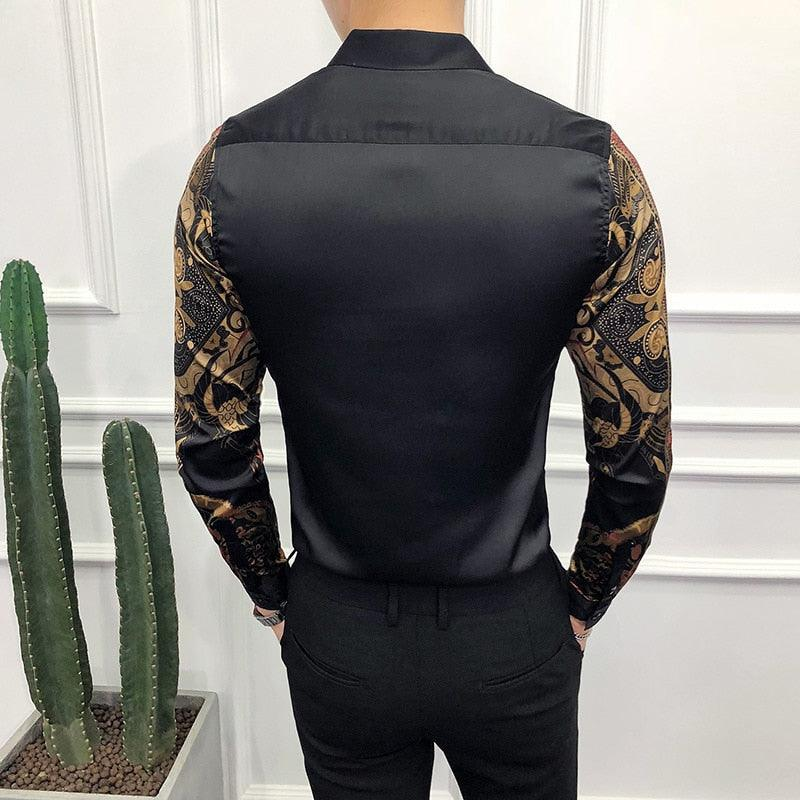 Luxury Gold Black  Slim Fit Long Sleeve Casual Shirt