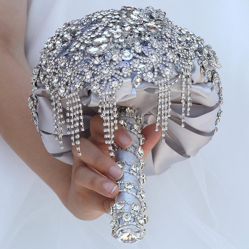 Luxury Silver Wedding Jeweled Bridal Crystal Bouquet Rose