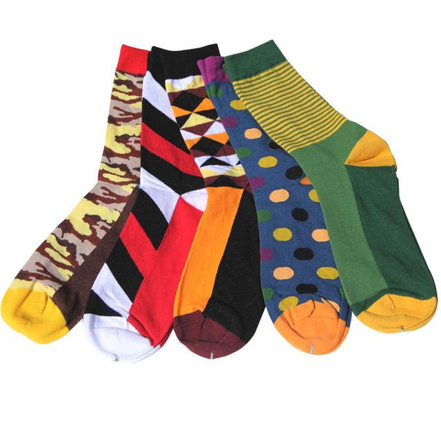 Men's colorful Business Cotton Novelty Socks 5 pairs
