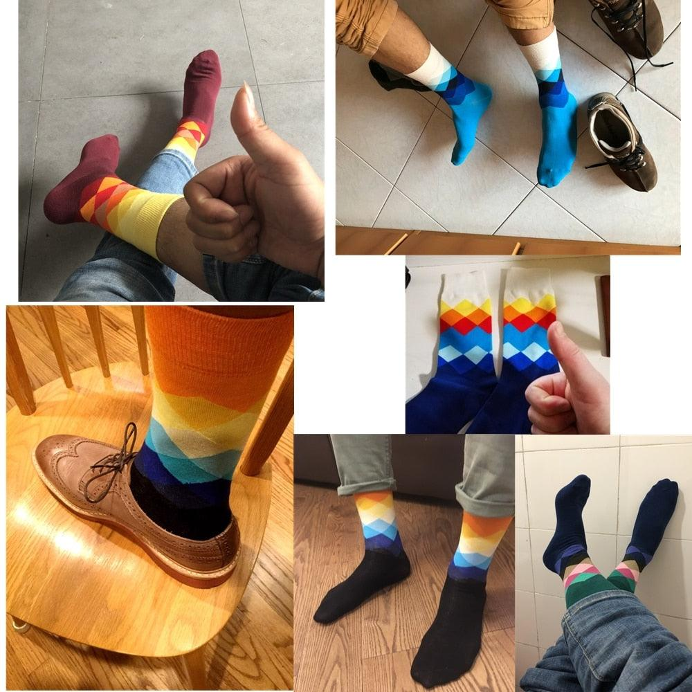 Men Standard Cotton Casual  High Quality Diamond Novelty Socks