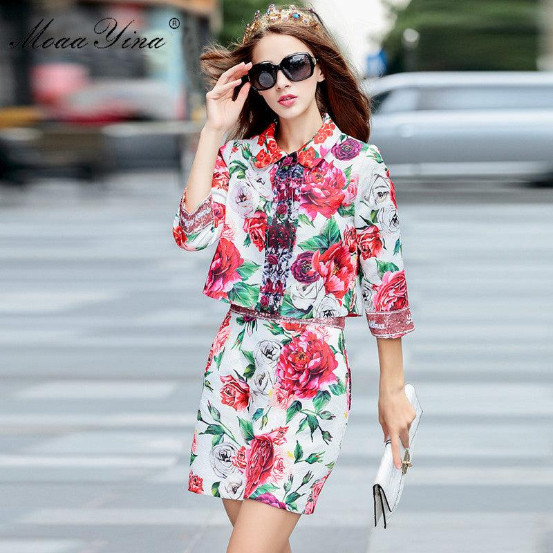 Floral Rose Print Elegant Top+Sequin Mini Skirt Two-piece suit