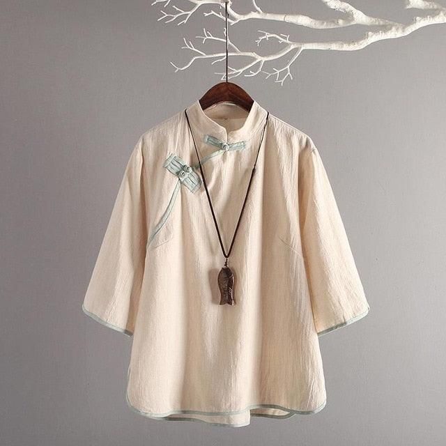 Vintage Chinese Style Linen Blouse