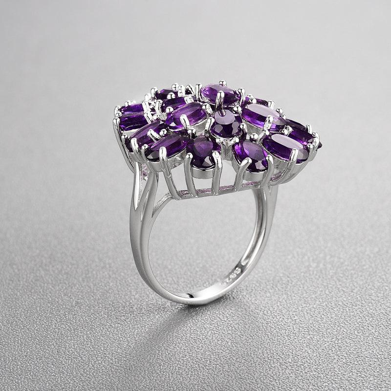 African Amethyst Water Drop Rings