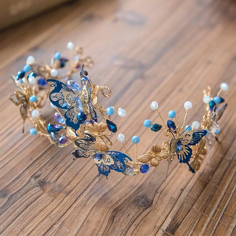Blue Butterfly Crown  Beads Hair Accessories