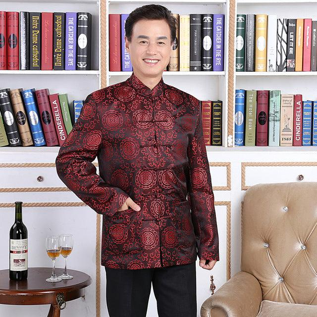 Traditional Men Chinese Cheongsam Pattern Suit Jacket