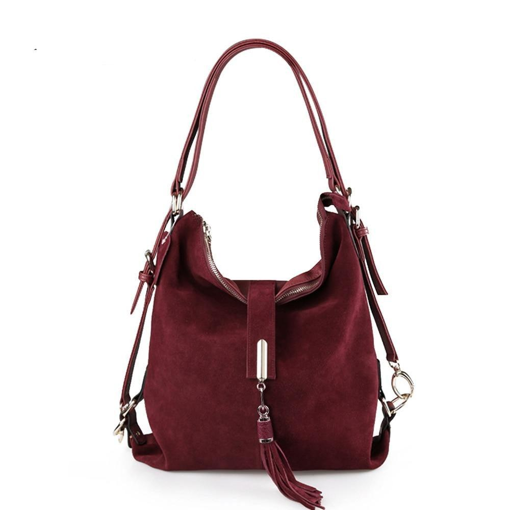 Suede Leather Convertible Handbag Hobo Messenger Bag