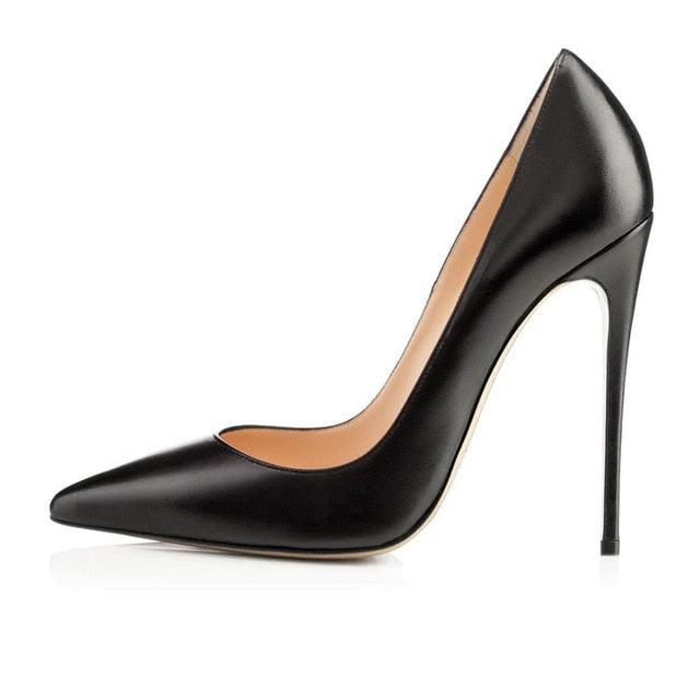 Classic Pointed Toe Genuine Leather Stiletto Pumps