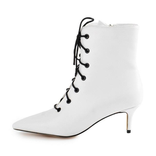 Kitten Low Heel Ankle Bootie Pointed Toe Lace Up Booties