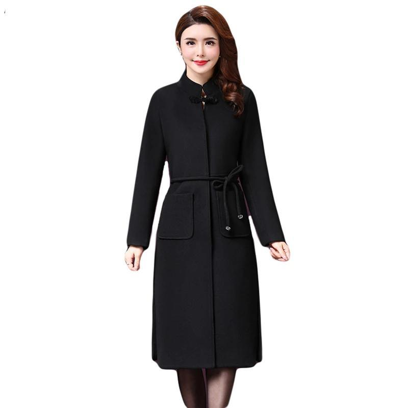 New Woolen Solid Cashmere Coat