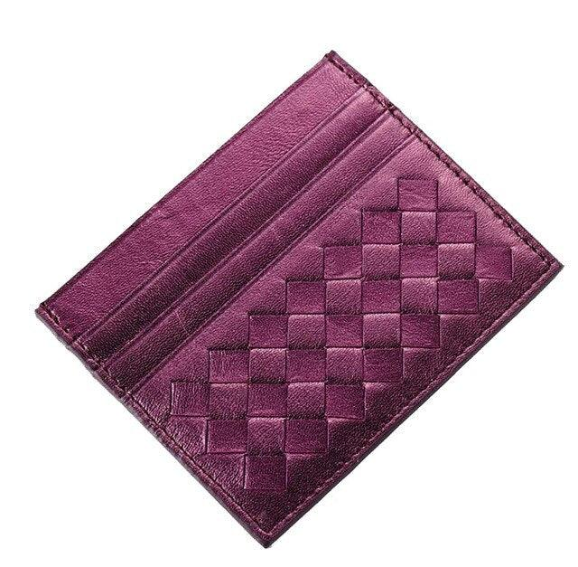 Mini Plaid Credit Card  Genuine Leather Business Wallet