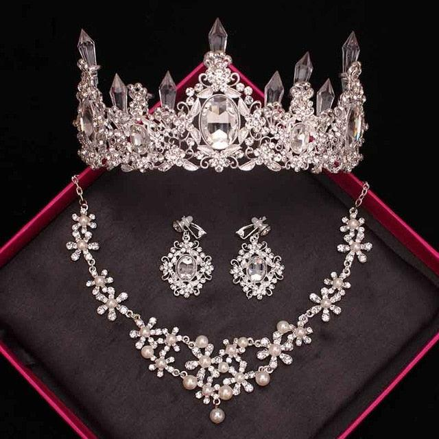 Crystal Pearls Tiaras Necklace Earrings Bride Wedding Jewelry Sets