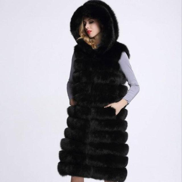 Slim Sleeveless Faux Fox Fur Vest Winter Jacket