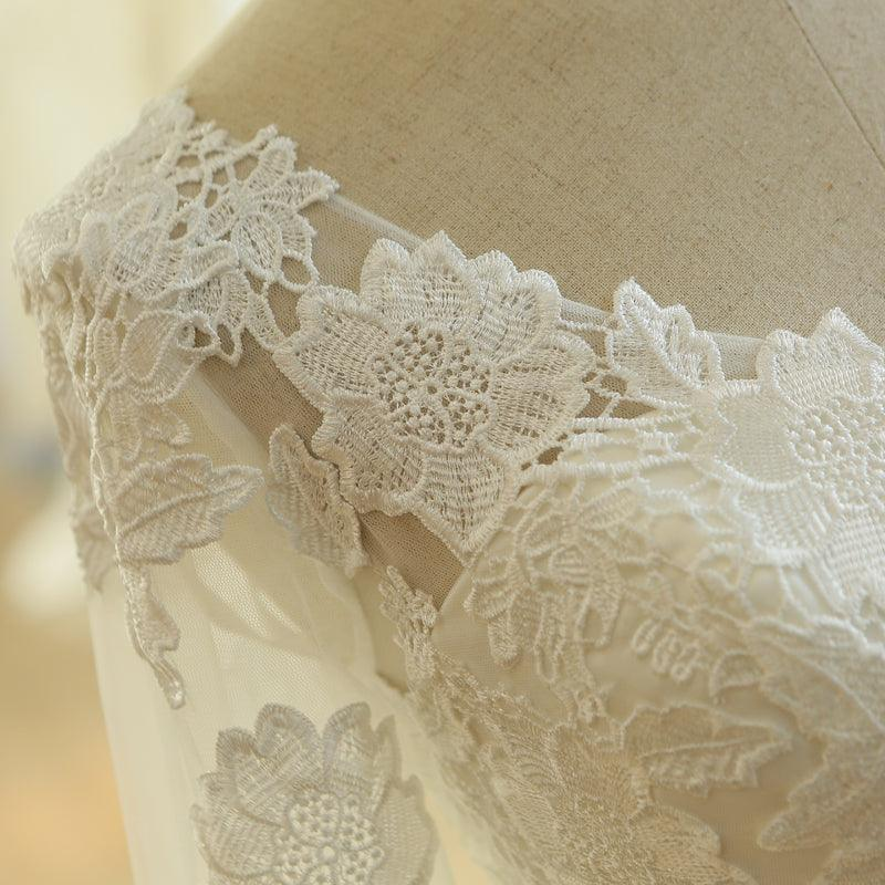 Natural A-line Sashes Long Sleeve Lace Wedding Dress