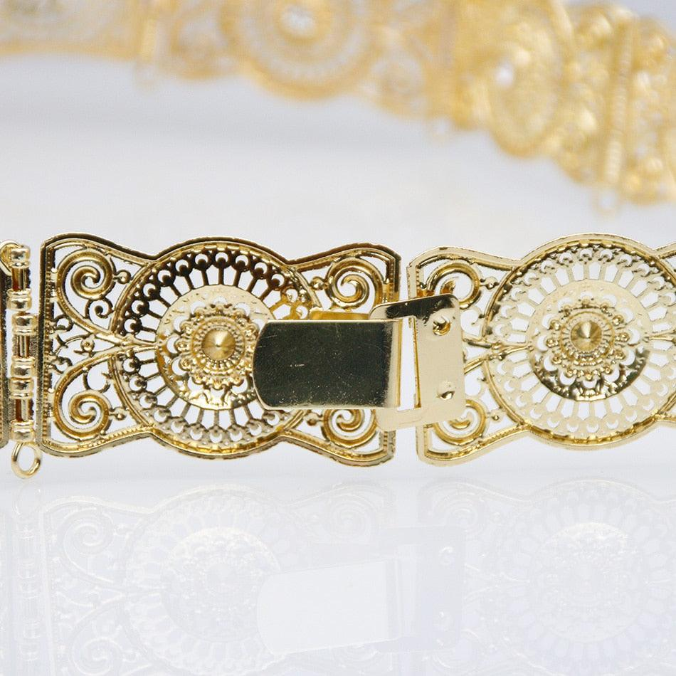 Hollow Flower Metal Square Button Belt
