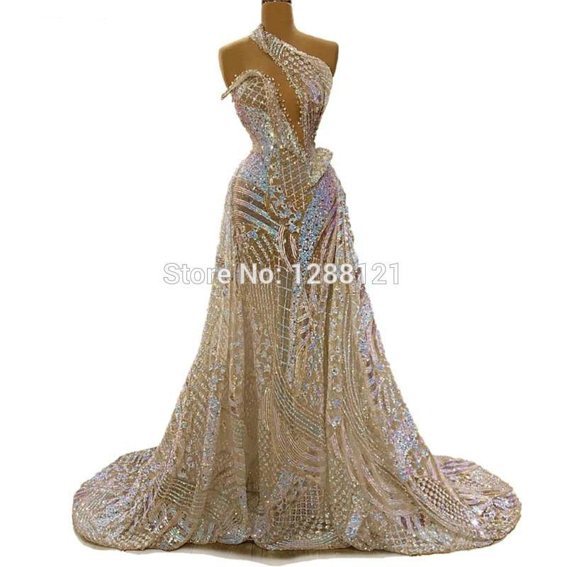 Vintage Sequins One Shoulder Formal Evening Dress