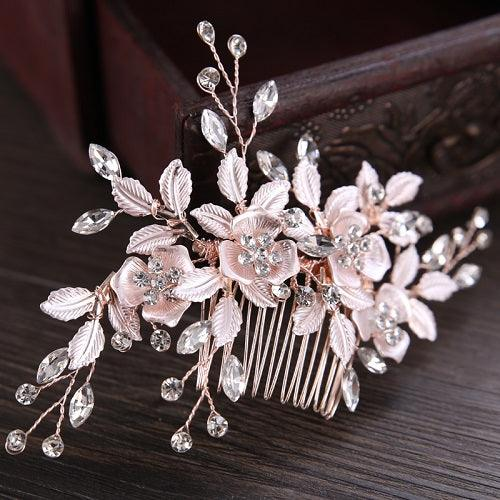 Silver Flower Rhinestone Elegant Jewelry For Bride Wedding Hair Accessories