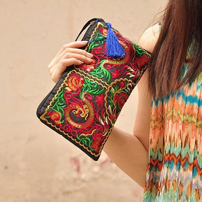 Ethnic Embroidery Canvas Day Clutch Bag