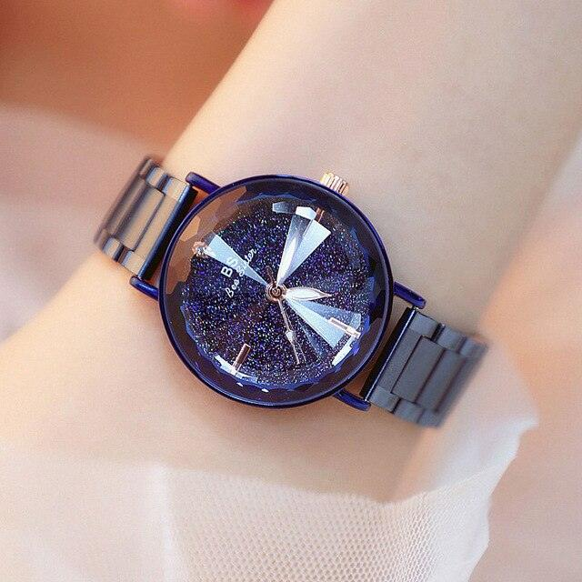 Midnight Sky Crystal Waterproof Stainless Steel Quartz Watch