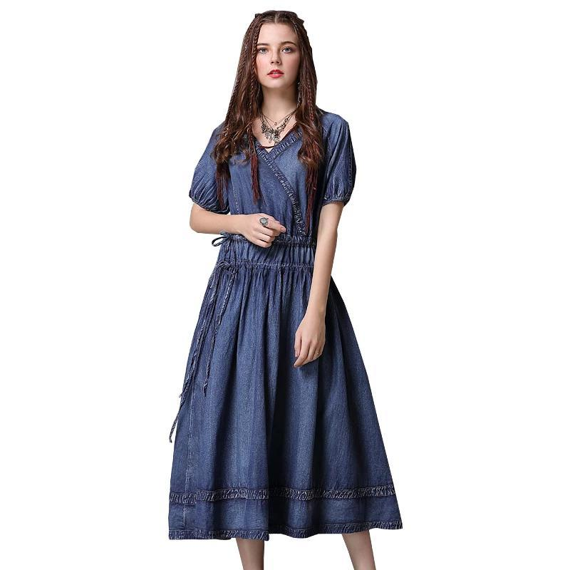 V-Neck Adjustable Waist Lantern Sleeve Swing Denim Dress