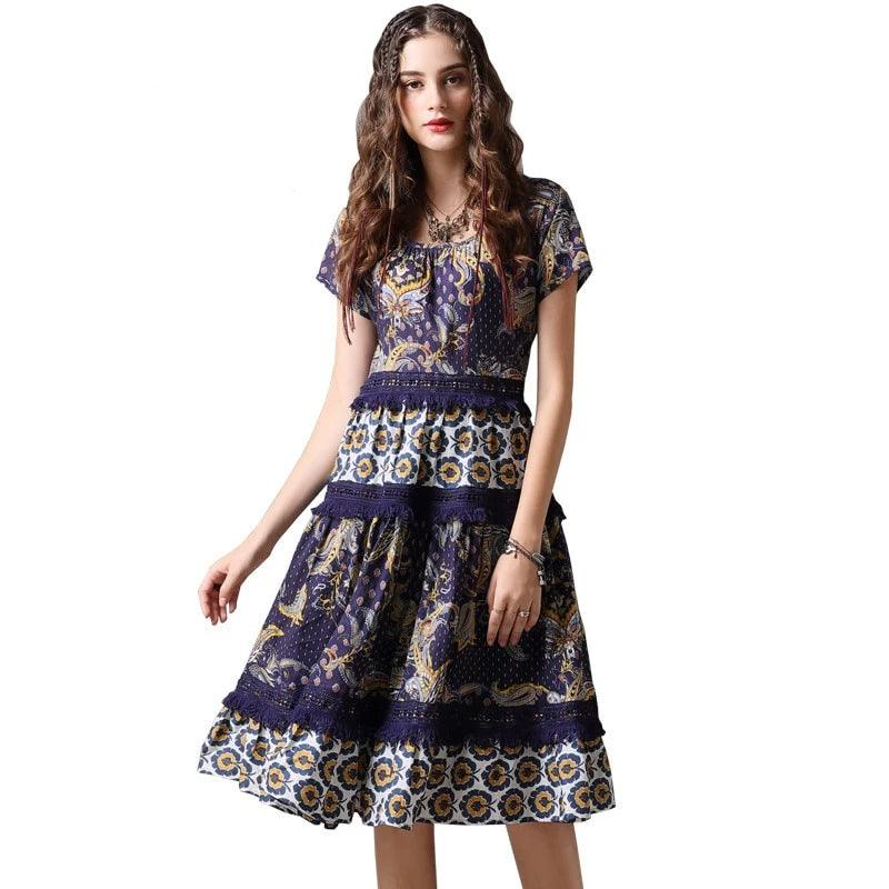 Hollow Out Lace Patchwork  Women Dress