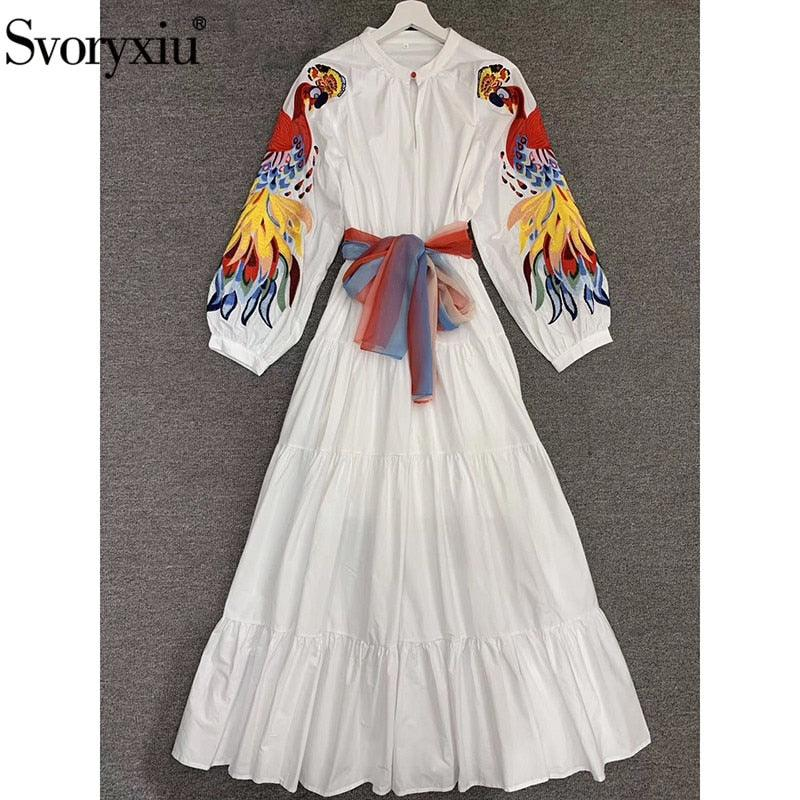 Embroidery White Lantern Sleeve Maxi Dress