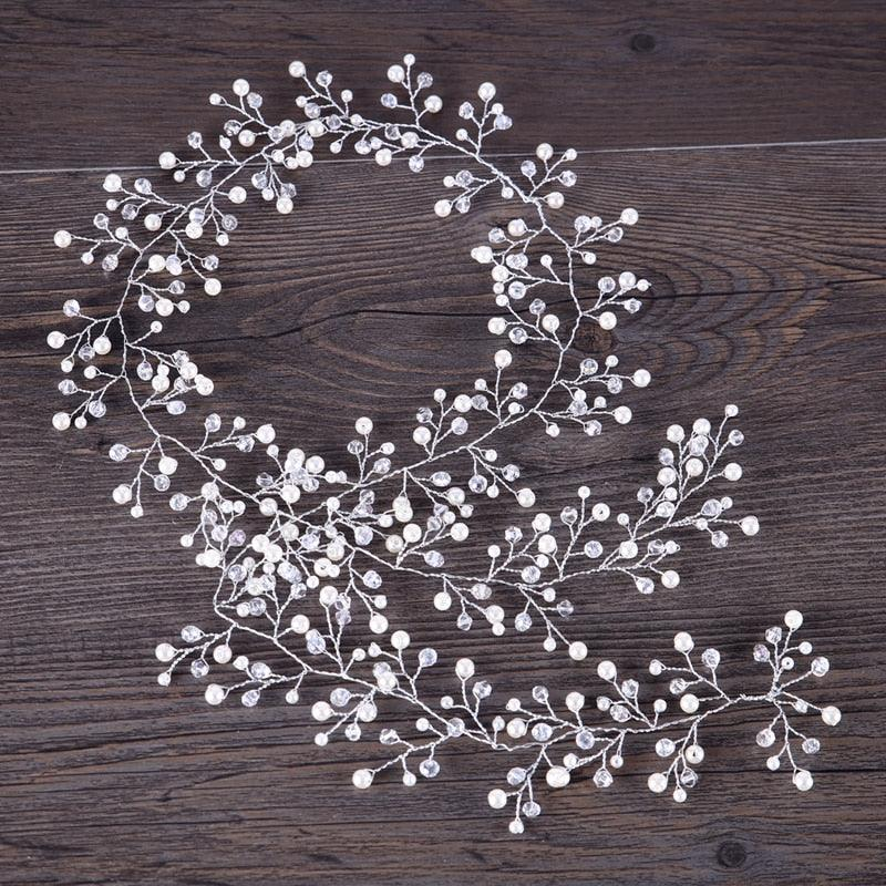 Silver Pearl Charm Headbands Crystal Beads Bridal Hairbands