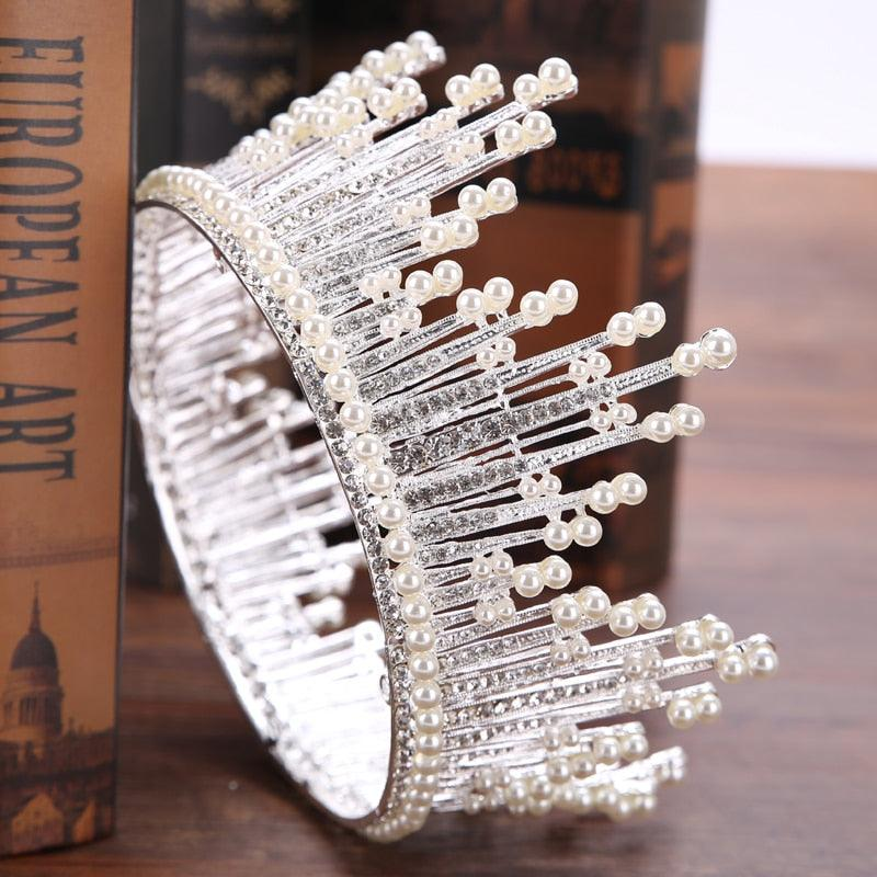 Trendy Silver Pearl Tiara Round Wedding Big Crowns For Bride Hair Accessories