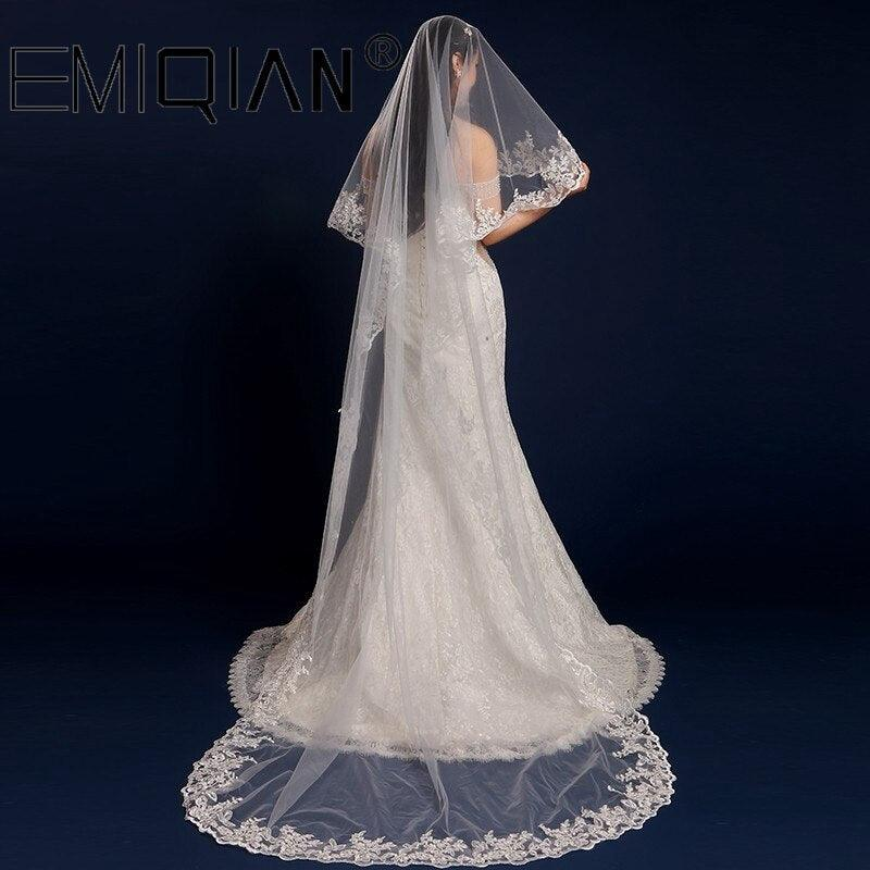 3 Meters Long One Layer Lace Bridal White Tulle Wedding Veils