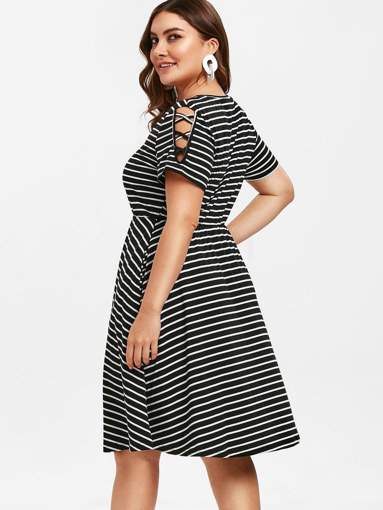 Striped A Line Criss Cross Sleeve Elastic Waist Work Dress