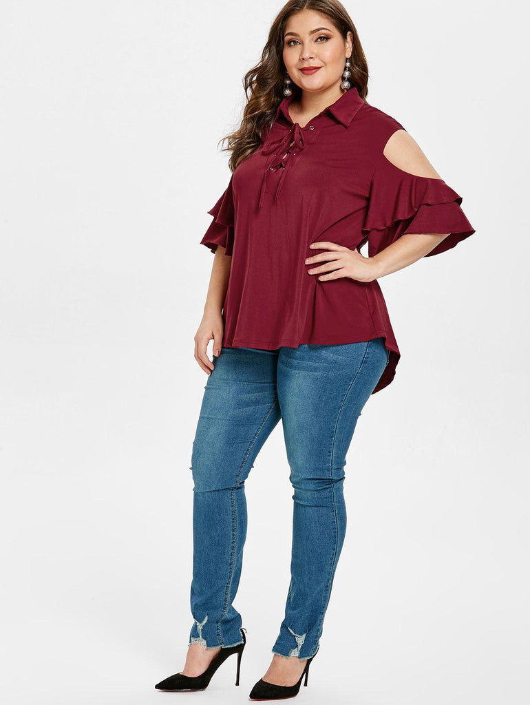 Plus Size Criss Cross Cold Shoulder Ruffles Blouse